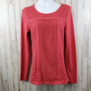 Lucky Brand Womens Top L Red Lace Overlay
